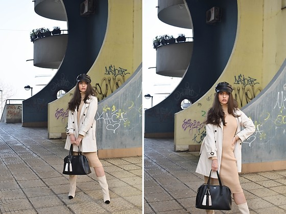 Jelena Dimić - Shein Faux Leather Newsboy Hat, Burberry Trench Coat, Shein Sweater Dress, Guess Bag, Raye Depp Boots - Rose colored glasses all distorted