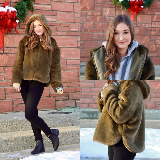 Taylor Doucette - Zara Furry Khaki Jacket With Hood, H&M Pringle Of Scotland X Fine Knit Hoodie, Citizens Of Humanity Black Skinny Rocket Jeans, Paul Frank Pointy Toe Leather Boots - Christmas Tree Farm - Taylor Swift