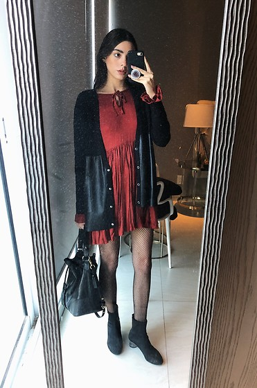 Mariana Garza - Zara Sweater, Zara Boots, Theresa Bucket Bag - Chedron dress