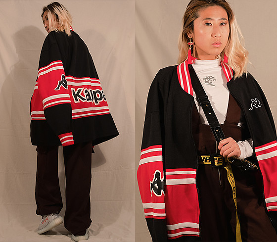 RuiJun L - Kappa Vintage Jacket, Shop Chokers Red Fan Earrings, Aliexpress Love Top, Bershka Brown Overall, Aliexpress Black Gold Fannypack, Off White Yellow Off White Belt, Yeezy Boost 350 V2 Zebra Blue - K A P P A