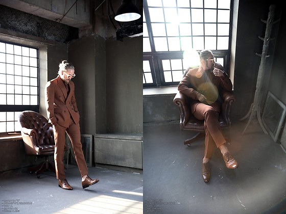 INWON LEE - Byther Brown Classic Double Suit Jacket, Byther Brown Color Slim Straight Slacks - Be Fancy Like Me