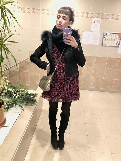 ♡Nelly Kitty♡ - The Kooples Black Pink Mini Dress, Killstar Faux Fur Collar Black Denim Jacket, Asos Overknee Suede Boots - OOTD #77