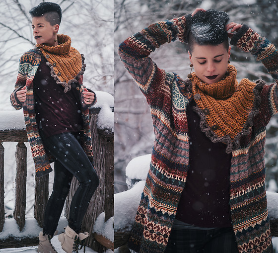 Carolyn W - Annie's Originals Mustard, Eddie Bauer Knit, H&M Maroon, American Eagle Outfitters Striped, The Frye Company Snowy - Knitwear in the Snow