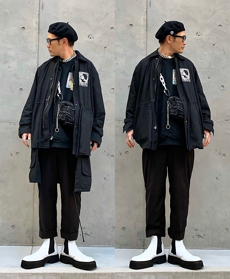★masaki★ - Newyorkhat Beret, Komakino Military Shirts Jacket, Ch. Trousers, Asos Square Toe Chelsea, Vitaly Necklace - Little White