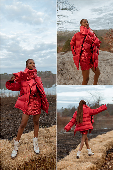 Opal S - Rudsak Puffer Coat, Rudsak Quilted Down Skirt, Agl Combat Boots - Red Hot WInter