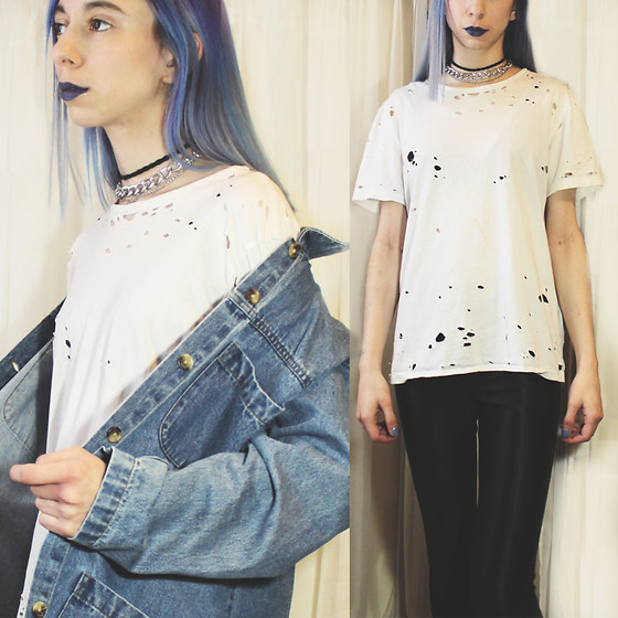 Brooke R. - Handmade Black Stretch Choker, Chain Choker, Thrifted Vintage Denim Jacket, Handmade Destroyed White T Shirt, American Apparel Black Disco Pants - Everything's A-OK if you don't look too hard
