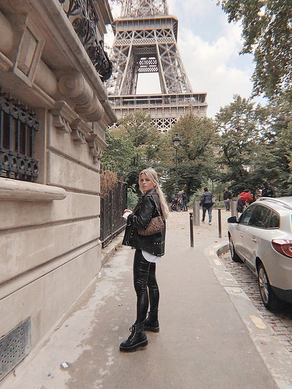 Emmy Nikolausson - Nly Trend Bag, Nly Trend Leather Pants, H&M Boots - STREETS OF PARIS ~