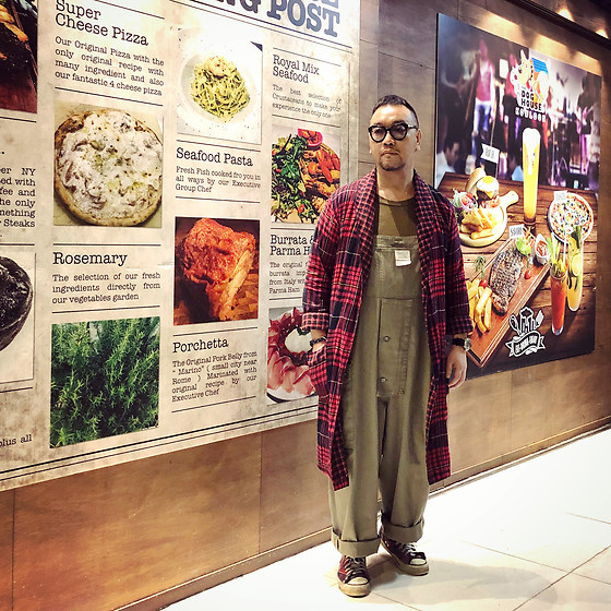 Mannix Lo - H&M Checkers Long Outer, Zara Tee, Nigel Cabourn Overall, Converse Vintage Checkers Chuck Taylor Sneakers - Your true value depends on what you are compared with
