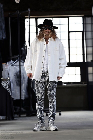 INWON LEE - Byther Jacket, Byther Fedora Hat, Byther White Vintage Jeans - Painted Design Pants