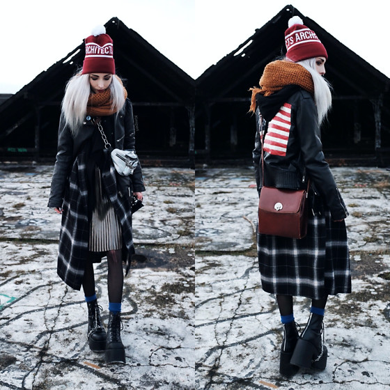 Kimi Peri - Demonia Camel 203 Platform Boots, Blue Socks, Tights, Vii & Co. Plaid Shirt, Vintage Bag, Unif Americana Moto Jacket, Yesstyle Holographic Bag, Architects Beanie, Monki Chunky Mustard Yellow Scarf, Vintage Metallic Pleated Skirt - Lost Places