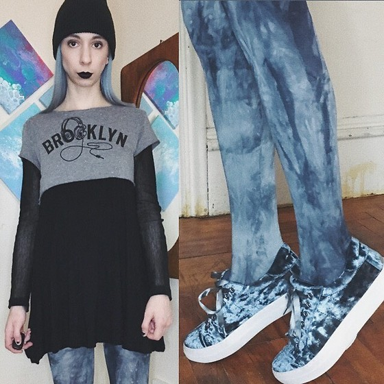 Brooke R. - Secondhand Cropped Brooklyn Tee, Secondhand Black Babydoll Tank Dress, Secondhand Black Mesh Shirt, H&M Watercolour Tights, Silver Mint Crushed Velvet Platform Sneakers, East Coast Lifestyle Black Knit Hat - I don't wanna live but I'm too scared to die