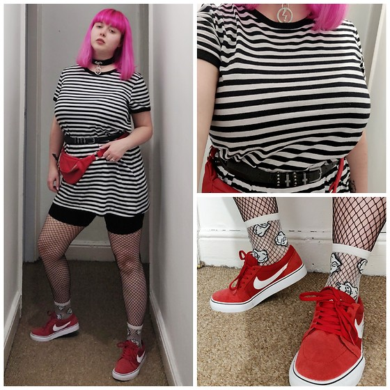 April Willis - Nike Red Trainers, H&M Sheer Lucky Cat Socks, Primark Diamond Fishnet Tights, Primark Cross Waist Belt, Killstar Repent Faux Leather Choker, Black Cycle Shorts, Red Bum Bag, H&M Striped T Shirt Dress, Manic Panic Hot Hot Pink Hair Dye - Creeping it casual