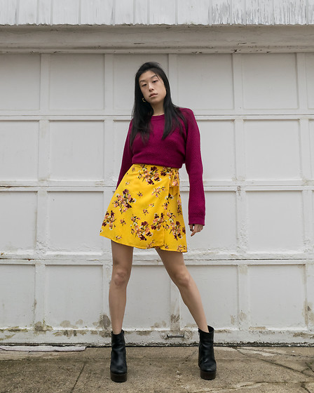 Gi Shieh - Raided Mom's Closet Red Sweater, H&M Yellow Floral Wrap Dress, Mejuri Editor Hoops, Aldo Black Platform Boots - Red for Valentine's Day?