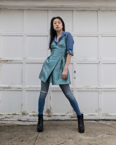 Gi Shieh - Borrowed From Sister Denim Button Down, Topshop Strappy Sky Blue Dress, H&M Denim Jeans, Aldo Black Platform Boots - Canadian Tuxedo + Dress!