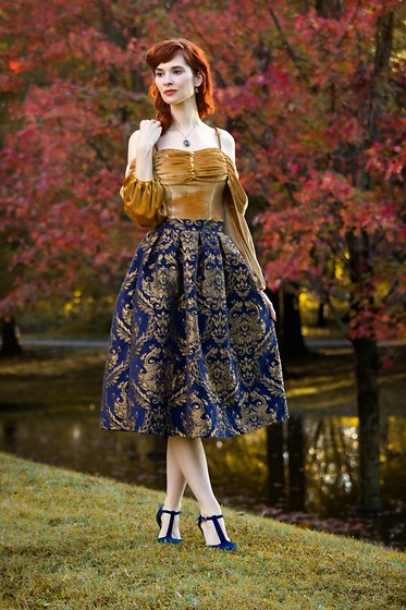 Bleu Avenue Ofbleuavenue - Chic Wish Golden Bouquet Jacquard Midi Skirt, Forever 21 Velvet Open Shoulder Top In Mustard - Brocade and Velvet