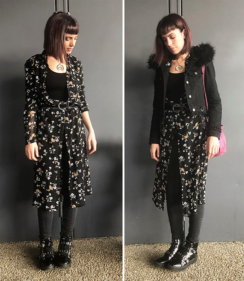 ♡Nelly Kitty♡ - Pimkie Floral Print Maxi Shirt Dress, Killstar Black Faux Fur Denim Cropped Jacket, One Step Black Leather Belt, Asos Studded Black Faux Leather Boots - OOTD#81 New hair