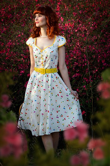 Bleu Avenue Ofbleuavenue - Voodoo Vixen Ivory Yellow Cherry Print Chacha Swing Dress - Vintage Swing Dress