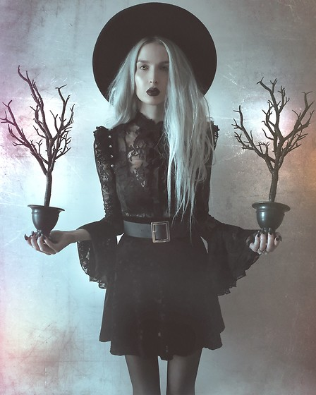 Jadethelibra - Killstar Witch Brim Hat, Killstar She'S Wicked Lace Blouse, Killstar Skirt, Asos Belt - Witchy Woman