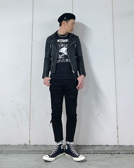 ★masaki★ - Neuw Denim Leather Jacket, Neuw Denim Jeans, The Interrupters Band Tee, Converse Ct70 - Broken World 壊れた世界