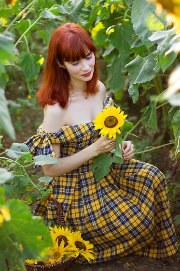 Bleu Avenue Ofbleuavenue - Shein Yellow Tartan Plaid Dress - Among the Sunflowers