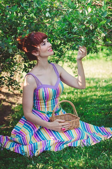 Bleu Avenue Ofbleuavenue - Collectif Clothing 50s Nova Rainbow Stripes Swing Dress In Multi - Blueberry Picking