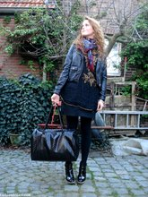 Renée Sturme - Hema Black Tights, Vintage Beaded And Sequined Top/Dress, H&M Biker Jacket, Friis&Company Woven Patent Bag, Vintage Paisley Scarf, Unisa Patent Ankle Boots, H&M Black Pencil Skirt - Fashion appointment