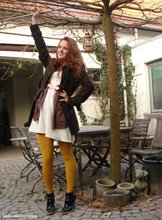 Renée Sturme - Vero Moda Brown Jacket, Second Hand Oversized Cardigan, H&M Off White Dress, H&M Yellow Tights, Unisa Patent Black Ankle Boots, H&M Belt - Yellow tights