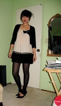 Stephanie T. - Cropped Sweater, Theme Babydoll Tunic Worn As Dress, American Apparel Stirrup Tights, Pumps - Lolita