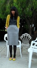 Stephanie T. - Club Monaco Shrunken Cardigan, Heavy Rotation Skull Tee, Thrift Houndstooth Pencil, American Apparel Stirrup Tights, Nine West Slingbacks - Do you?