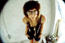 Heather Baker - Unkown Glasses, Unknown Suspenders, Unknown Shorts, Thrift Store Dress - Nerd Revenge