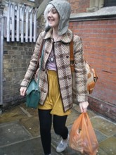 Saskia Jordan-Kossowski - Handmade In Wales 1960's Coat, Charity Shop Vintage Bag, American Apparel High Wasted Jersey Skirt, From A Friends Coat Removable Hood, Topshop Trainers - Camden Town