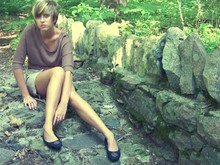 Amanda J - Forever 21 Brown 3/4 Sweater, Thrif Black Flats, Delias Tan Romper - Everybody must get stoned