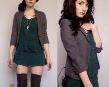 Nicola K - Gentle Fawn Green Mini Dress, H&M Thigh Highs, Grandma Necklace, Vintage Shunken Blazer - Lunch with the ex.