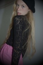 Klara Sjöholm - Thrifted Beret, My Mums Old One Black Lace Top, Made It Myselfe Pink Skirt - Probably just a stupid one