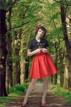 Odile M - Handmade Red Dress, Moschino Red Heels, Handmade By Me Double Brested Jacket, Handmade By Me Hairbow - Riding Hood