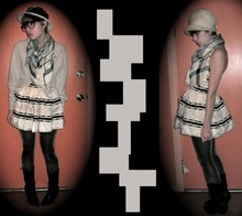Celeste Cerro - Mother Vintage Black Cowboy Boots, Antique Mall Vintage Hat W/ Bow, Antique Mall Vintage Hat W/ Lace Flower, Plastic Glasses, Forever 21 Scarf, Goodwill Thrifted Sweater, H&M Strapless Party Dress, Express Gold & Black Tights - Double-take