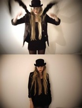 Klara Sjöholm - Thrifted Black Hat, Don't Remember Feather Boa, Thrifted Black Blazer - Magic isn't magic, right?