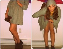 Samantha C. - My Sisters Room Little Umbrella, Od Navy Grey Babydoll Coat, Thrifted Gold Clutch, My Auntie Suede Ankle Boots, Yellow Knit Dress - Peace out Nova Scotia. I'm off to potatoe land.