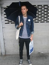 Matthew Pike - Fulton Umbrella, Levi's® Denim Jacket, Topman Stripy Blue And White T Shirt, Topshop Black Drainpipes, Converse Black, Priceless Funny Grin - Rain rain go away