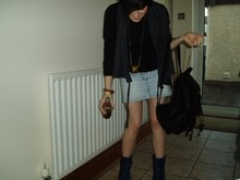 Lù Kǎi Lì . - Charity Shop Black Leather Satchel, Vintage Shop Blue Ankle Boots, Gaf Navy Drape Waistcoat Thing, Bershka Long Sleeved Black Top, Charity Shop Denim Skirt - I have a rocket ship, a jetfighter, ok a paper aeroplane