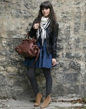 Betty A - Bershka Leather Jacket, H&M Scarf, H&M Blue Skirt, Andre Boots, Shoplush Bag - I love H&M ... again