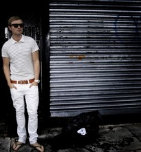 Chris Hughes - Ray Ban Raybans, French Connection Uk White With Black Stripe Polo Shirt, Zara Light Brown Leather Belt, Topman Skinny White Jeans, Urban Outfitters White Speaker Watch, Brown Havaianas - Keep your whites....white.