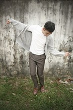 Ridhwan Sesapar - Topman Oversized Cardigan, Topman Basic Long Sleeve, Dress Pants, Daddy's Woven Leather Shoes - Breaking it up