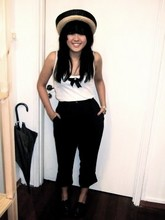Geraleine Yap - Thrifted Straw Boater Hat, Thrifted Black Bow Pin With Pearl Detail, Topshop Ribbed Tank Top, Thrifted High Waisted Pants, Topshop Black Lace Up Patent Shoes - That hat.