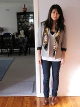 Erica Chen - Chanel Scarf, Op Shop Vintage Blazer, American Apparel Aa  V Neck Tshirt, Country Road Singlet, Lover Jeans, Markets Brogues - Today was a good day