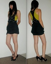 Stephanie T. - Cheap Monday Raindrop Racerback, Club Monaco Green Tank, A.P.C. Bubble Skirt, Miu Double Strap Mary Janes - Go on