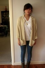 Erica Chen - American Apparel, Witchery Cardi, Cotton On Jeans., Tony Bianco Boots - Off to the library.