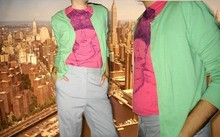 Oskar V. - Gift Green Cardigan, Me Pink Sleveless Graphic Tee, Me High Waisted Pants - We've got the city.