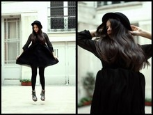 Alix - - Vintage Bowler Hat, H&M Dress, Dr. Martens Vintage Doc - All in black