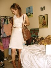 Eve Young - Secondhand Brown Bag, Secondhand Brown Belt, Kmart? Brown Booties, Billabong White Dress - Plain white and brown